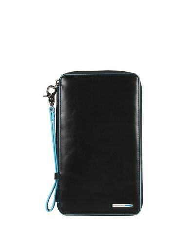 Piquadro Blue Square travel document holder with credit card slots, Black - PP3246B2/N