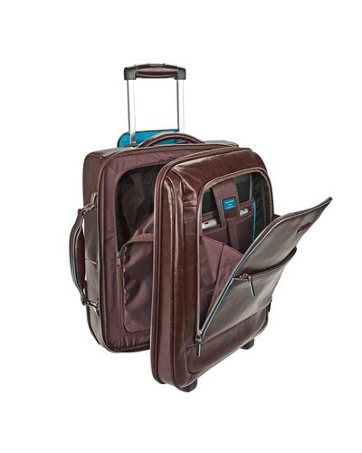 Piquadro Blue Square cabin trolley with doble notebook and iPad compartment, Mahogany - CA2496B2/MO
