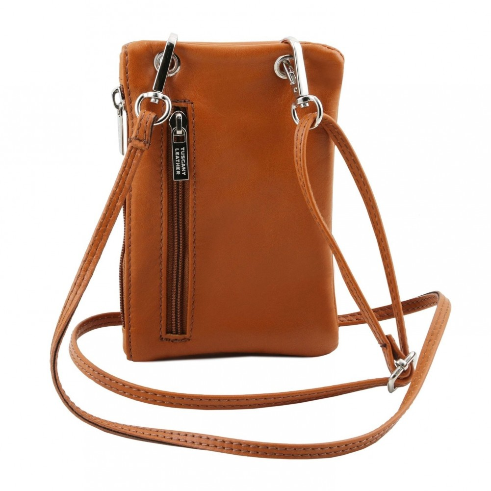 Tuscany Leather TL Bag - Tracollina Portacellulare in pelle morbida Cognac - TL141423/6