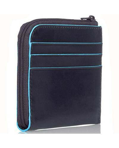 Piquadro Blue Square leather zippered coin pouch with credit card slots, Night Blue - PU3410B2/BLU