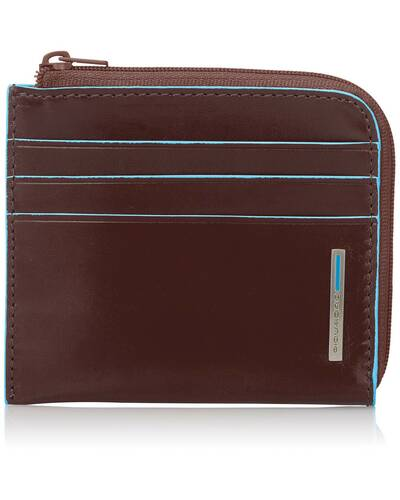 Piquadro Blue Square leather zippered coin pouch with credit card slots, Mahogany - PU3410B2/MO