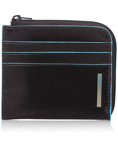 Piquadro Blue Square leather zippered coin pouch with credit card slots, Black - PU3410B2/N