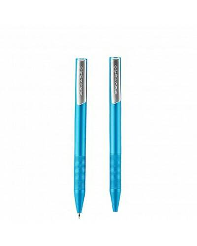 "Piquadro ""Stationery"" kit ballpoint pen + mechanical pencil with leather pouch, Light Blue - WR2730P3/BLU"