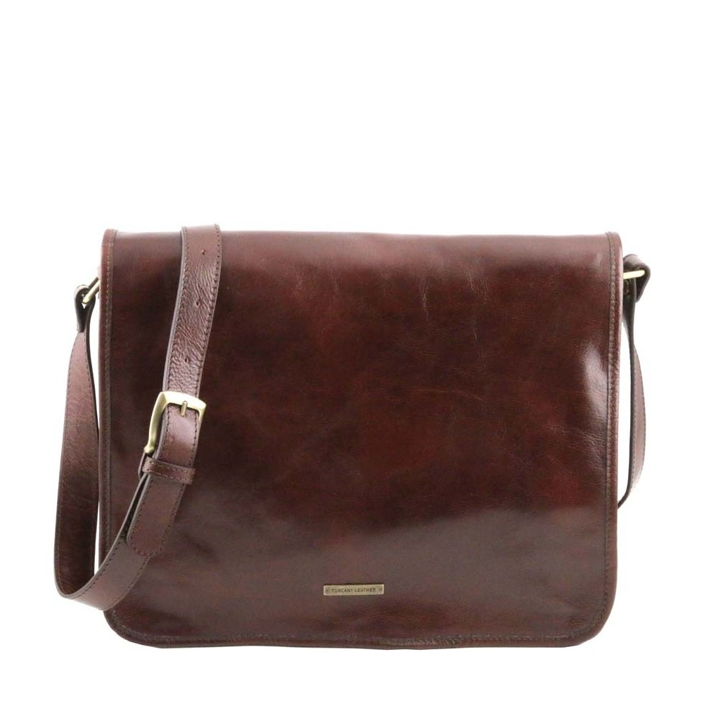 9dde5e9be69c Tuscany Leather - TL Messenger - Two compartments leather shoulder bag -  Large size Brown - TL141254 1 - Fendess