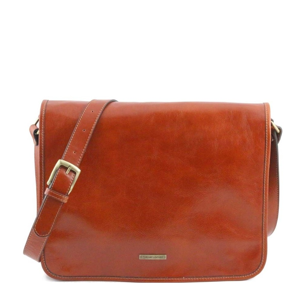 8e4255fdd69c Tuscany Leather - TL Messenger - Two compartments leather shoulder bag -  Large size Honey - TL141254 3 - Fendess