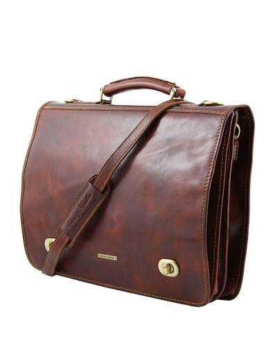 ... Tuscany Leather - Siena - Leather messenger bag 2 compartments Dark  Brown - TL10054 5 76c4b7f47f829