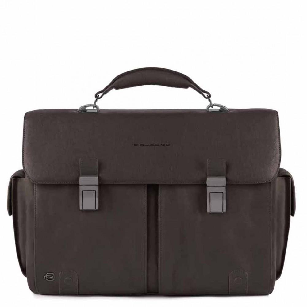 4d99e3cf9d82 Piquadro Black Square computer briefcase with iPad®Air/Pro 9,7, Dark Brown  - CA1068B3/TM