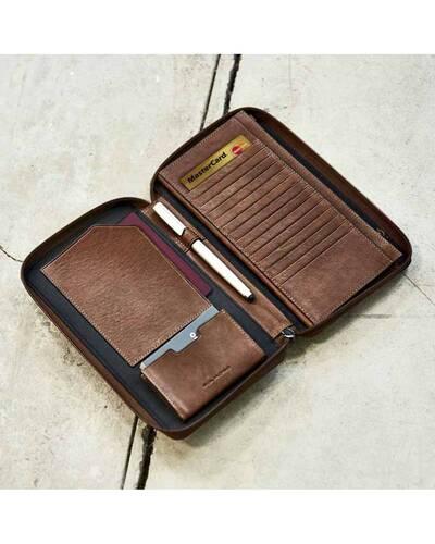 Piquadro Black Square porta documenti da viaggio in pelle, Testa di Moro - PP3246B3R/TM