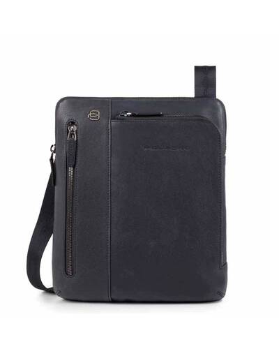 Piquadro Black Square iPad®Air/Pro 9,7 crossbody bag with double front zip pocket, Night Blue - CA1816B3/BLU