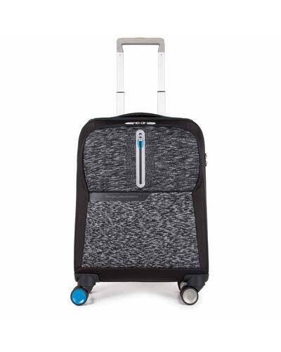 Piquadro BagMotic PC and iPad®, cabin size trolley with handle with scales and battery pack, Black - BV3849BM/N