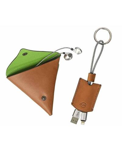 Piquadro BagMotic gift box with earphone triangular leather case and key-chain, Green - ACBOX12BM/VE