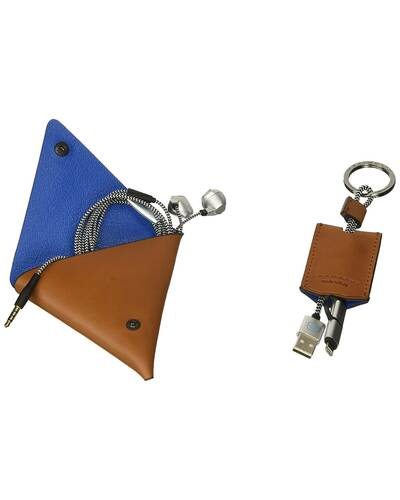 Piquadro BagMotic gift box with earphone triangular leather case and key-chain, Blue - ACBOX12BM/BLU