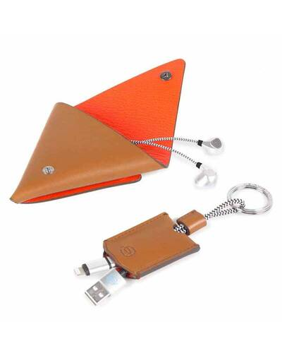 Piquadro BagMotic gift box with earphone triangular leather case and key-chain, Red - ACBOX12BM/R
