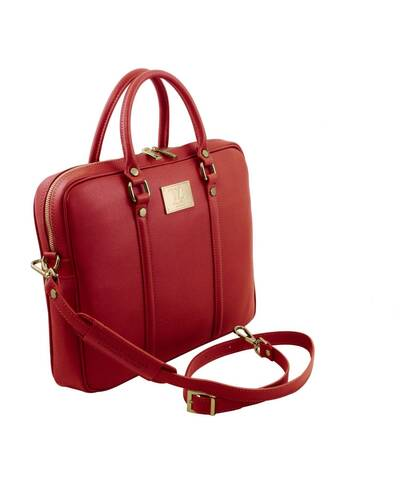 Tuscany Leather Prato - Exclusive Saffiano leather laptop case Red - TL141626/4