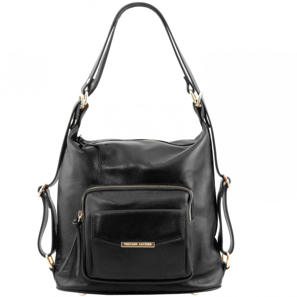 Tuscany Leather TL Bag - Borsa donna in pelle convertibile a zaino Nero - TL141535/2