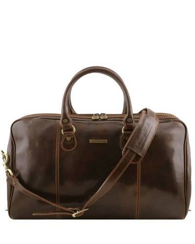 Tuscany Leather - Paris - Travel leather duffle bag Dark Brown - TL1045/5