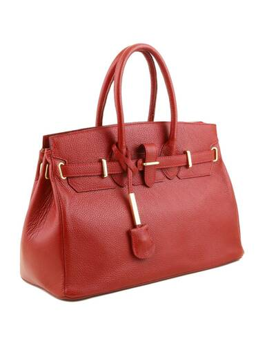 Tuscany Leather - TL Bag - Borsa a mano media con accessori oro Rosso Lipstick - TL141529/120