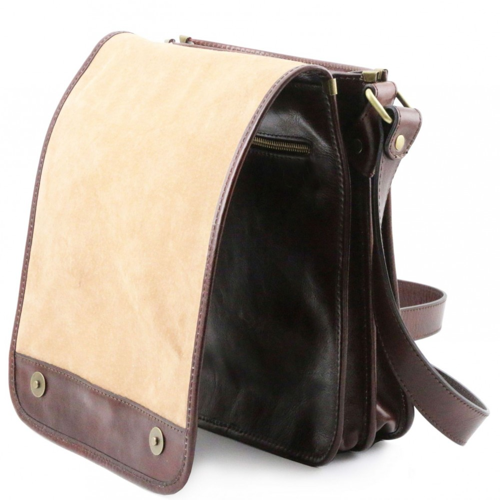 ca456fbeaac4 Tuscany Leather - TL Messenger - Two compartments leather shoulder bag Brown  - TL141255 1