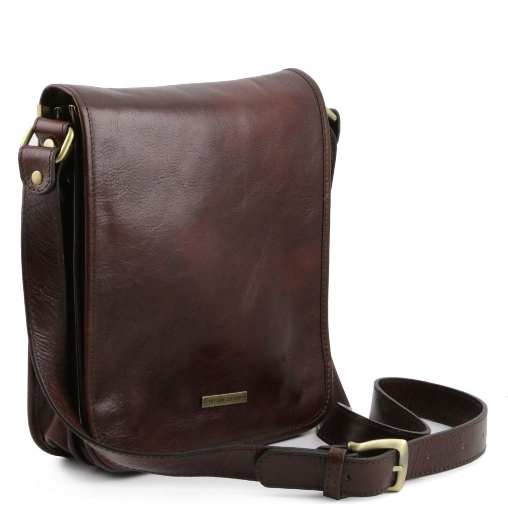 ecdae07976 Tuscany Leather - TL Messenger - Two compartments leather shoulder bag Dark  Brown - TL141255