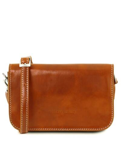 Tuscany Leather Carmen Leather shoulder bag with flap Honey - TL141713/3