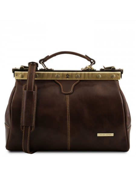 Tuscany Leather - Michelangelo - Doctor gladstone leather bag Dark Brown - TL10038/5