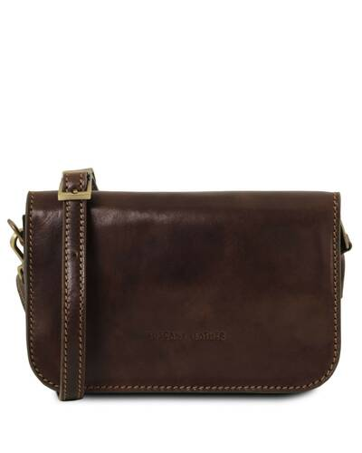 Tuscany Leather Carmen Leather shoulder bag with flap Dark Brown -  TL141713 5 ... 0e0530ceea465