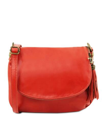 Tuscany Leather TL Bag - Soft leather shoulder bag with tassel detail  Lipstick Red - TL141223 ... 34b1ac051e397