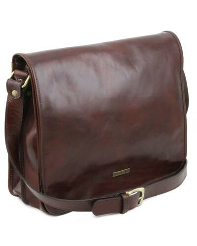 Tuscany Leather - TL Messenger - Two compartments leather shoulder bag - Large size Black - TL141254/2