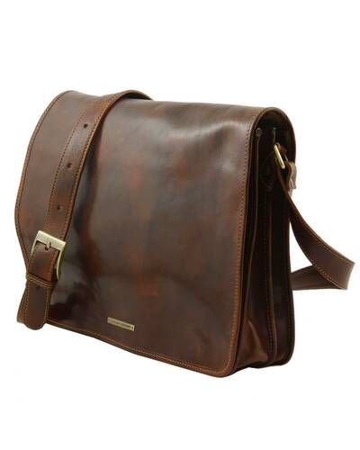 Tuscany Leather - Messenger double - Freestyle - Borsa in pelle Testa di Moro - TL90475/5
