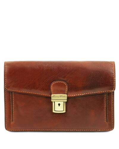 Tuscany Leather Tommy - Exclusive leather handy wrist bag for man Brown - TL141442/1