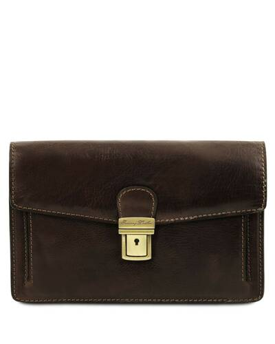 Tuscany Leather Tommy - Exclusive leather handy wrist bag for man Dark Brown - TL141442/5