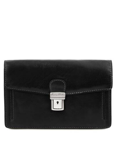 Tuscany Leather Tommy - Exclusive leather handy wrist bag for man Black - TL141442/2