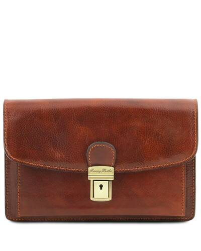 Tuscany Leather Arthur - Exclusive leather handy wrist bag for man Brown - TL141444/1