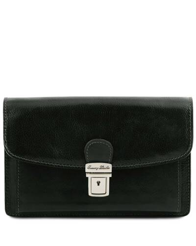 Tuscany Leather Arthur - Exclusive leather handy wrist bag for man Black - TL141444/2