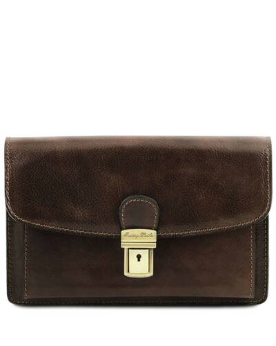 Tuscany Leather Arthur - Exclusive leather handy wrist bag for man Dark Brown - TL141444/5