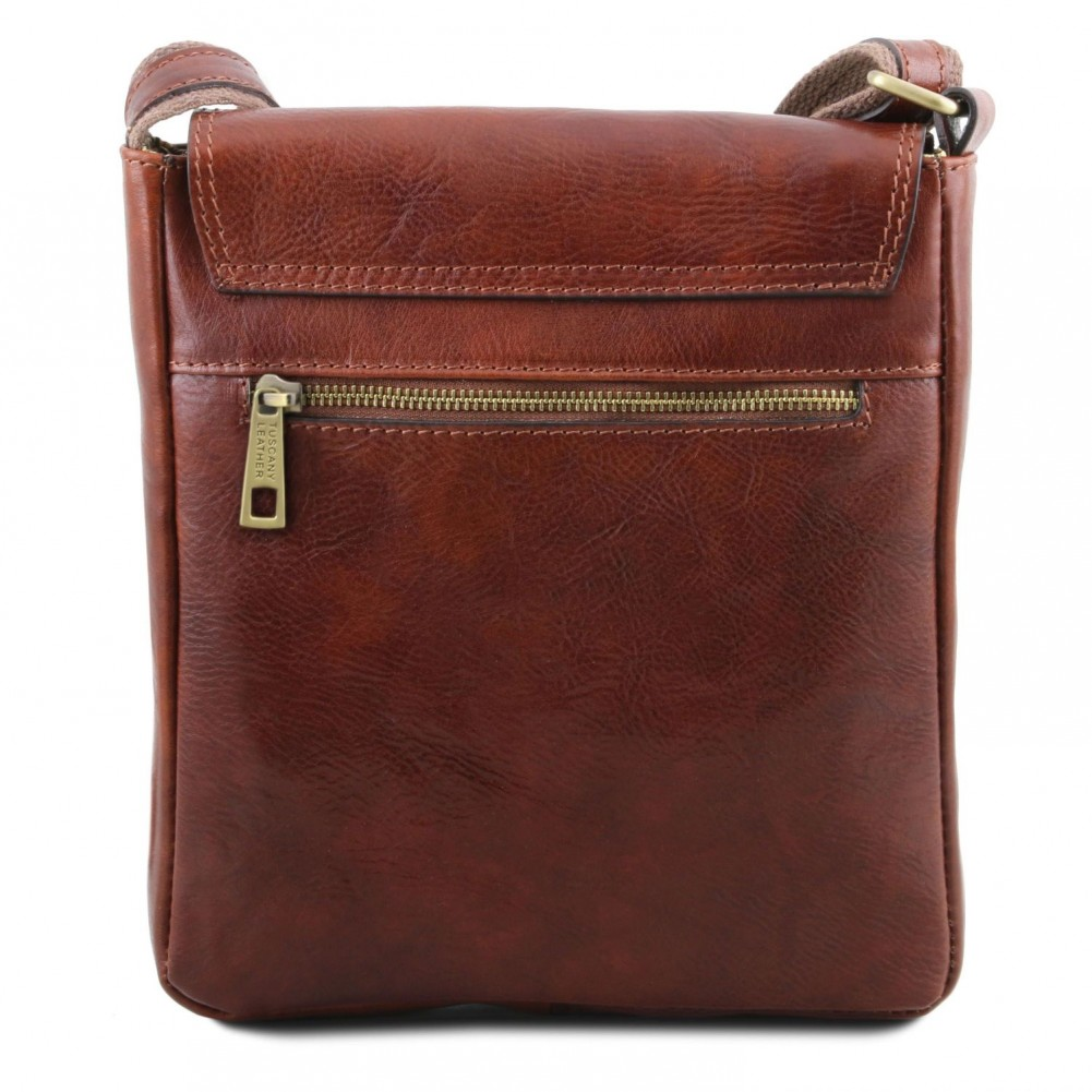 Tuscany Leather John - Borsello da uomo in pelle con zip frontale Miele - TL141408/3