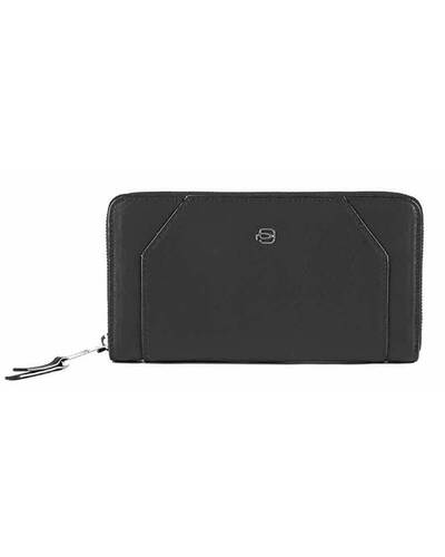 Piquadro Muse zip-around women's wallet with 4 dividers, coin case and RFID anti-fraud, Black - PD1515MUR/N