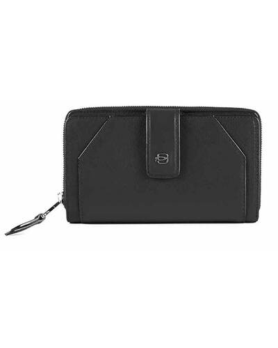 Piquadro Muse women's wallet with coin case and RFID anti-fraud protection, Black - PD1354MUR/N
