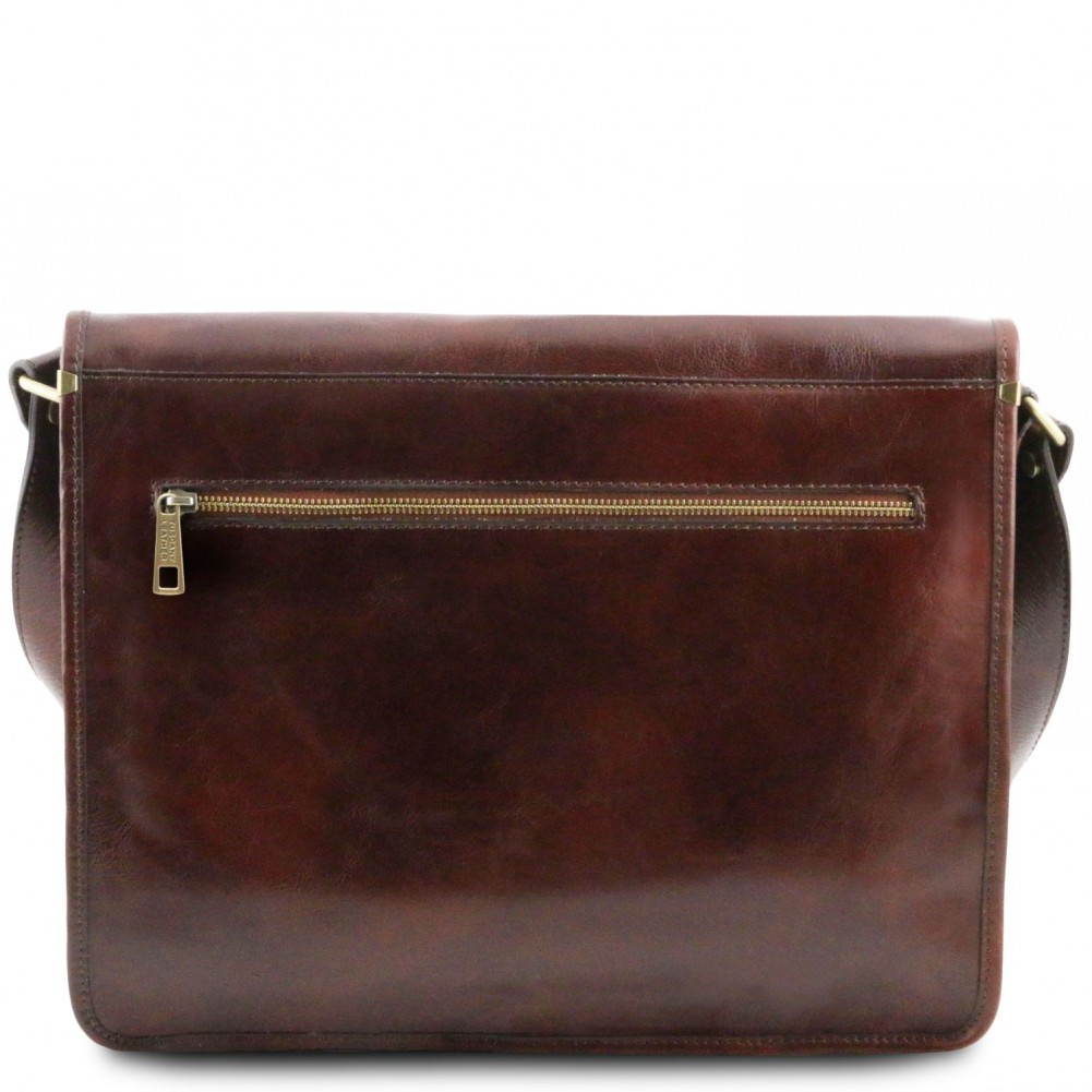 768ac9090f5e Tuscany Leather - TL Messenger - Two compartments leather shoulder bag -  Large size Dark Brown - TL141254 5 - Fendess