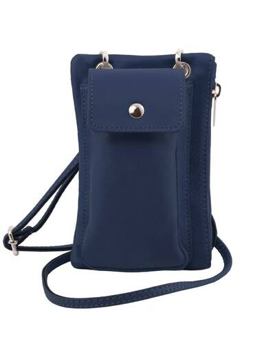 Tuscany Leather TL Bag - Tracollina Portacellulare in pelle morbida Blu scuro - TL141423/107