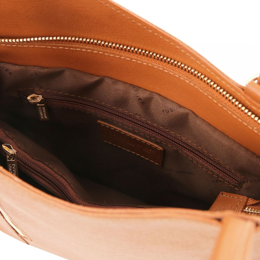 Tuscany Leather Patty - Borsa donna convertibile a zaino in pelle Saffiano Cognac - TL141455/6