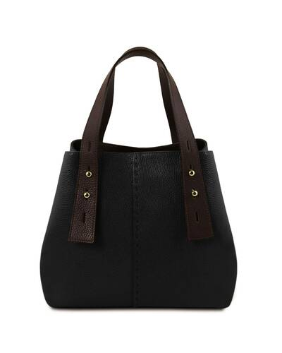 Tuscany Leather TLBag Borsa shopping in pelle Nero - TL141730/2