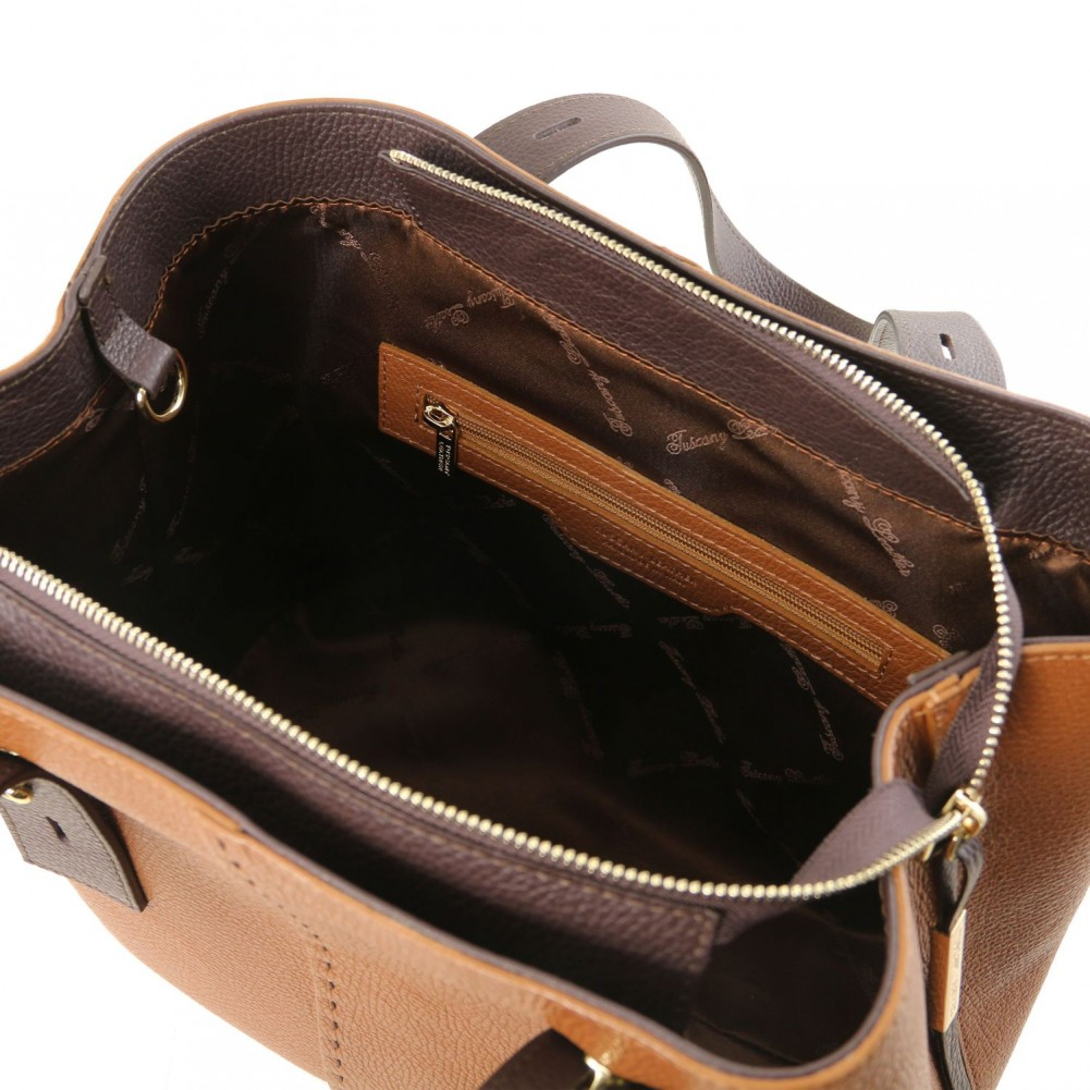 Tuscany Leather TLBag Borsa shopping in pelle Cognac - TL141730/6
