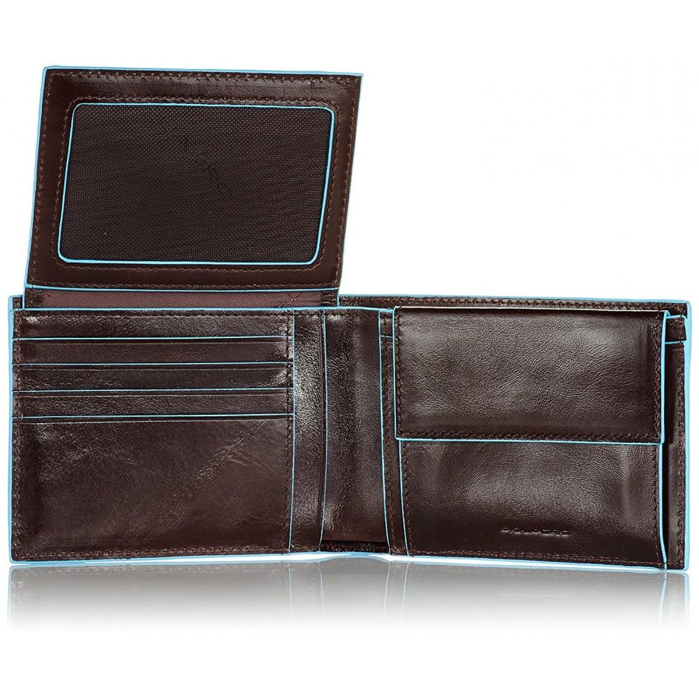 Piquadro Blue Square portafoglio da uomo con portamonete, Mogano - PU1392B2/MO