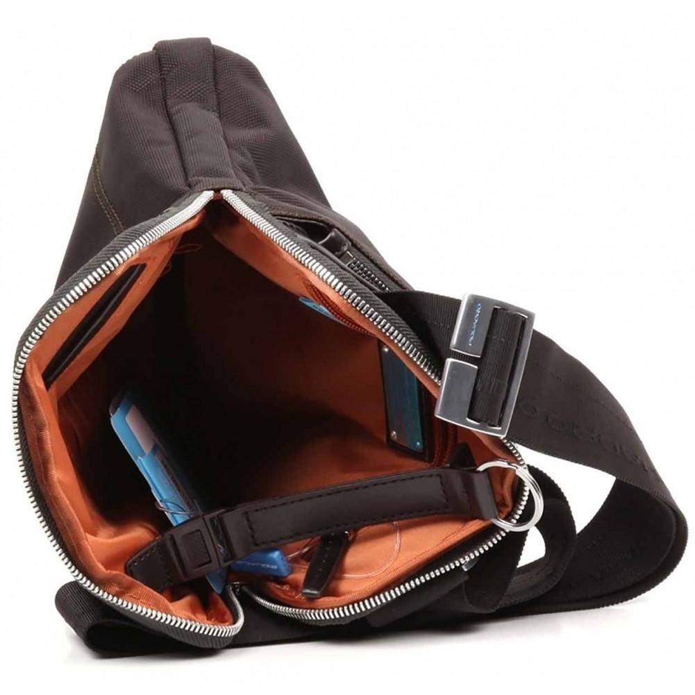 Piquadro Link borsello piatto organizzato in nylon e pelle, Testa di Moro - CA1358LK/TM