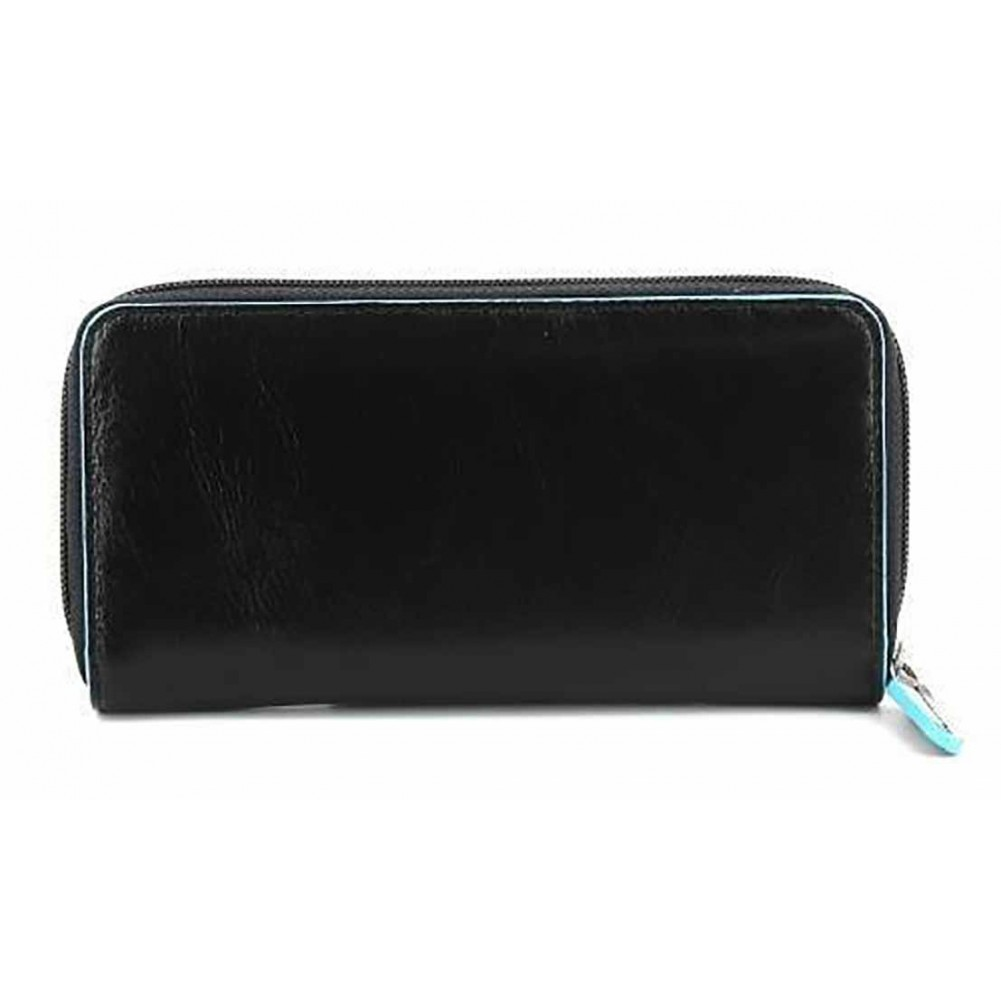 b8d1782202bb Piquadro Blue Square zipper women's wallet with coin pocket and credit card  slots, Black - PD3229B2/N