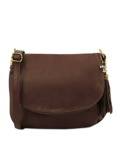 a4911e2a06 Tuscany Leather - TL Bag - Soft leather shoulder bag with tassel detail Dark  Brown -