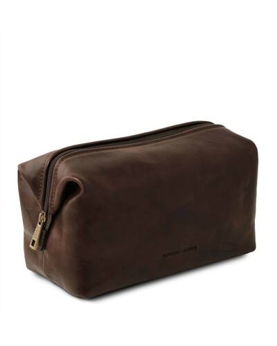 Tuscany Leather - Smarty - Leather toilet bag - Large size Dark Brown - TL141219/5