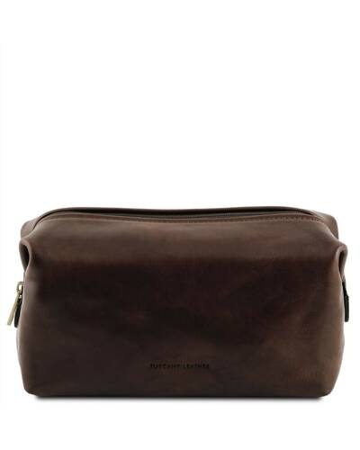 Tuscany Leather - Smarty - Leather toilet bag - Small size Dark Brown - TL141220/5