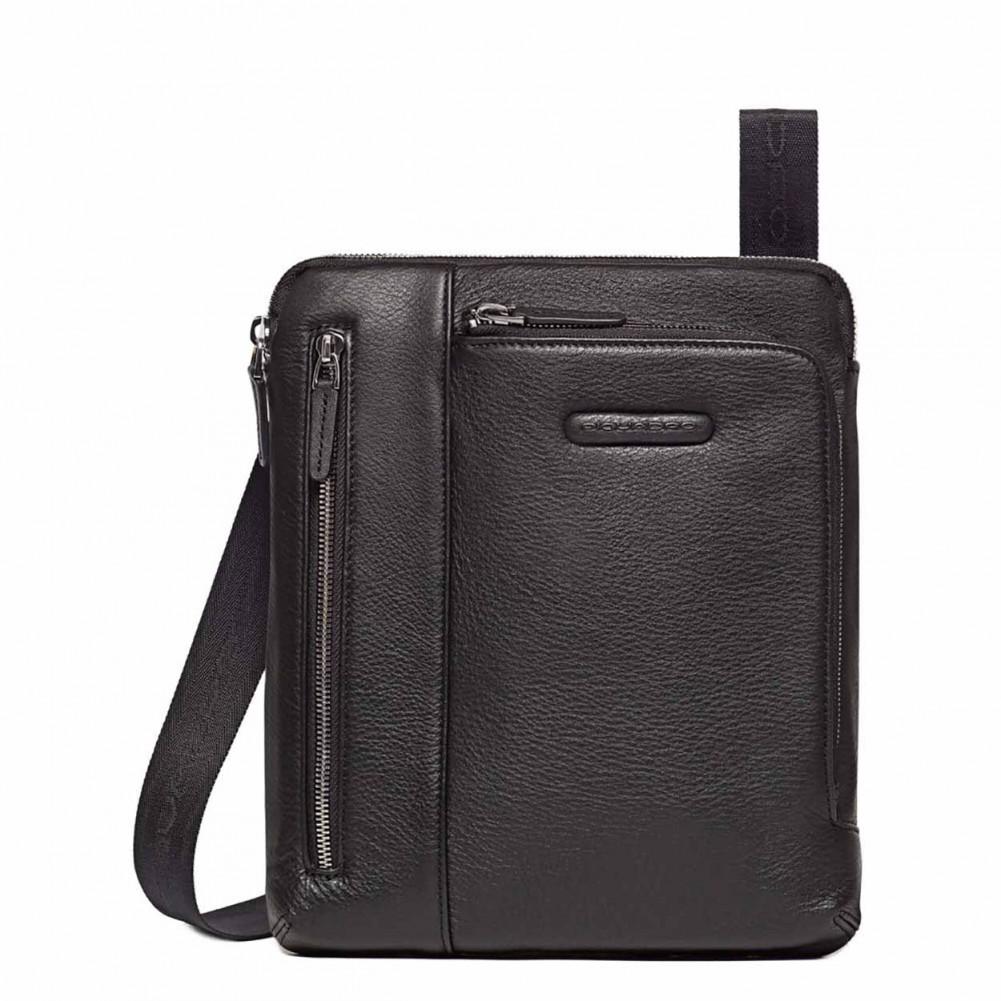 Piquadro Modus borsello porta iPad, tasca per lettore mp3 e passante per auricolari, Nero - CA1816MO/N